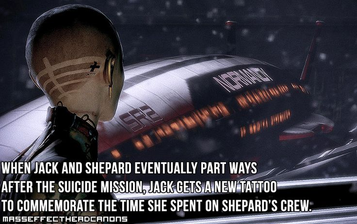 When Jack and Shepard eventually part ways after the suicide mission, Jack gets a new tattoo to commemorate the time she spent on Shepard's crew. #masseffect #headcanon