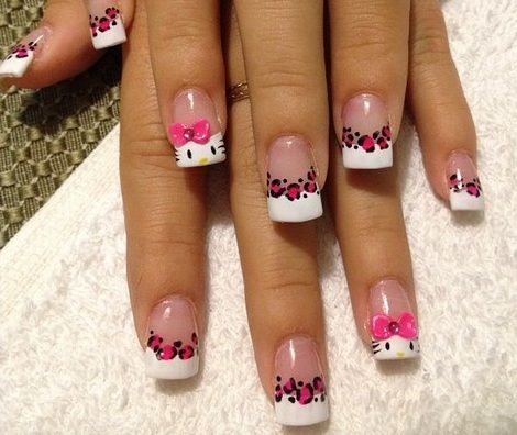 decorar uñas hello kitty leopardo