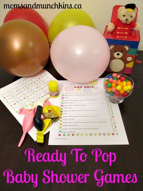 "ready-to-pop-baby-shower-games. I really like ""Biggest Bubble"" and the ""Pop Quiz"""