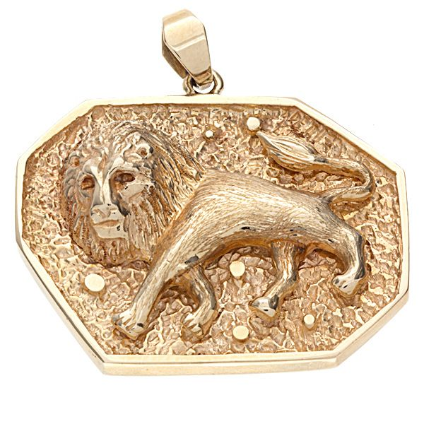 Stunning custom made 14K lion pendant. The sharp details of the lion look incredible and the background design highlights the lion beautifully. This is a gorgeous custom pendant that is sure to please.