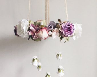 Earthy Rustic Purple Flower Crib Mobile / Floral Hanging Chandelier  Why settle for average when you can so easily create a true statement piece for your room or event? With its earthy blooms and vintage-like appeal, this floral chandelier easily becomes the focal point as a hanging centerpiece regardless of location displayed. The flower mobile could transition quite effortlessly between farmhouse, nursery, bedroom, birthday party or photo shoot, all the while enticing and delighting bo...