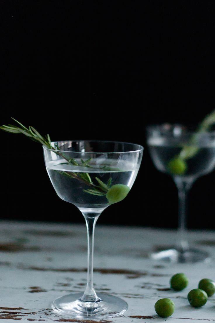 smoked rosemary oil dirty martini cocktail recipe /
