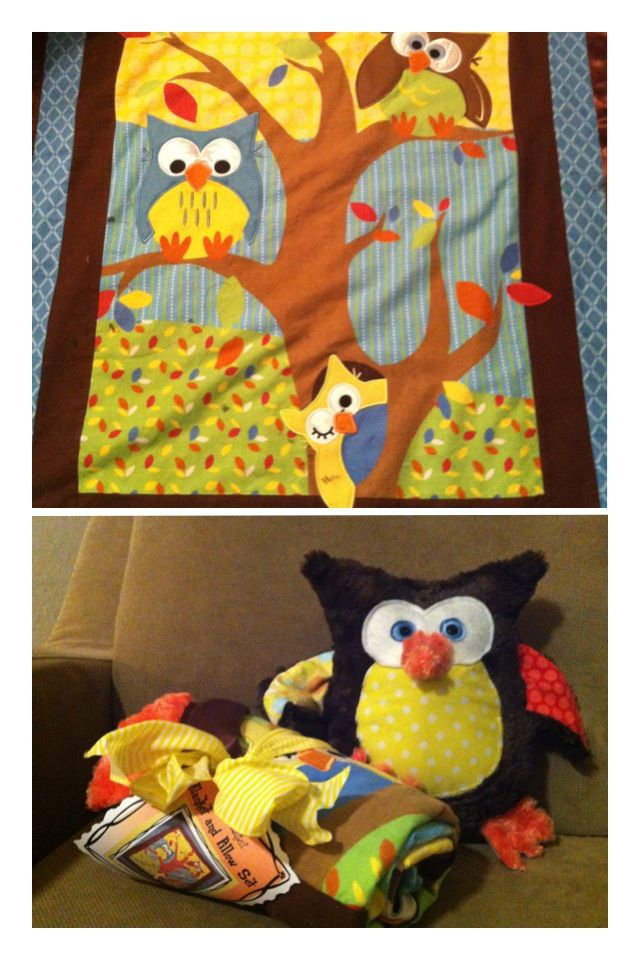Minky baby blanket with stuffed owl to match.