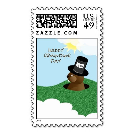 Happy Groundhog Day Cute Groundhog in Hat Stamps This Dealsplease follow the link to see fully reviews...