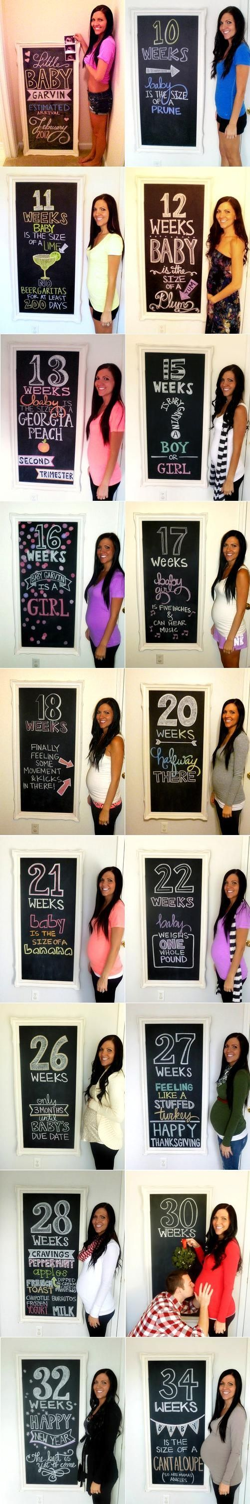 Cute pregnancy photo diary montage calendar chalkboard Toni Kami ~•❤• Bébé •❤•~ Pregnancy photography DIY Little Baby Garvin Love this blog