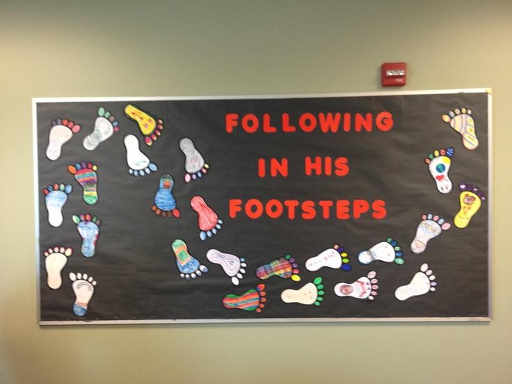 following jesus footprint bulletin board for church - Kitchen Bulletin Board Ideas