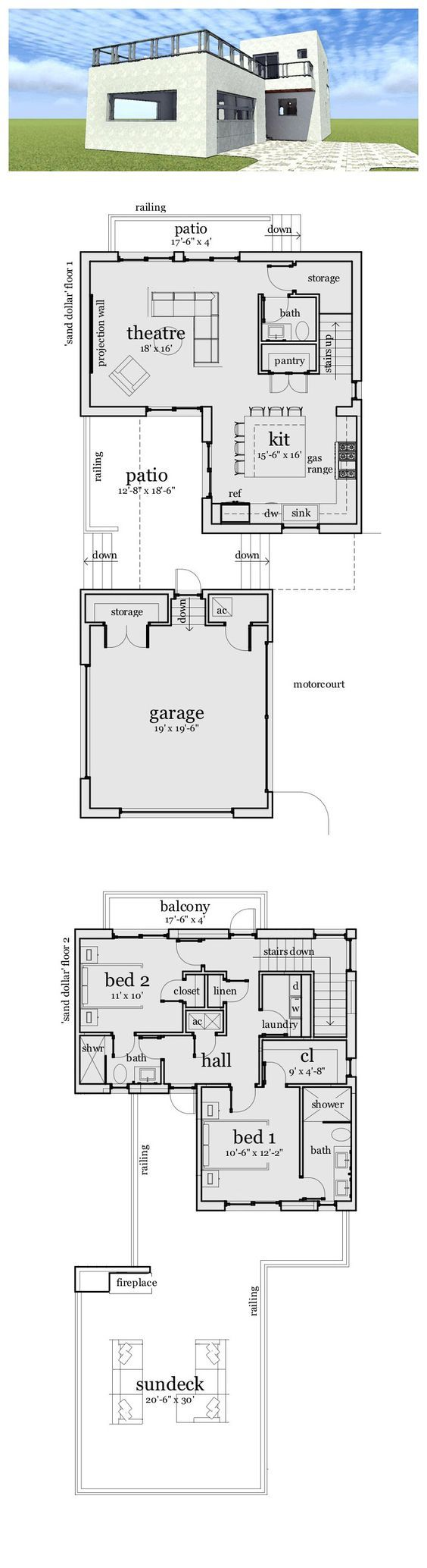 Modern House Plan 70805 | Total Living Area: 1476 sq ft, 2 bedrooms & 2.5 bathrooms. The exterior features a rooftop living space to provide excellent views in almost all directions. The lower level is simple with a large theater and chef's kitchen. #modernhouse #houseplan