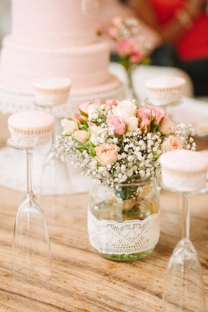 Vintage Lace Floral Arrangement + Cupcakes from a Vintage Chic 1st Birthday Party via Kara's Party Ideas | KarasPartyIdeas.com (31)