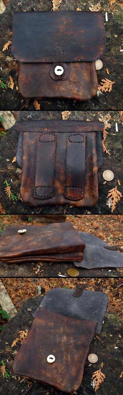 ML Knives Blog: Custom Leather Belt Bag. A Vintage looking bag.