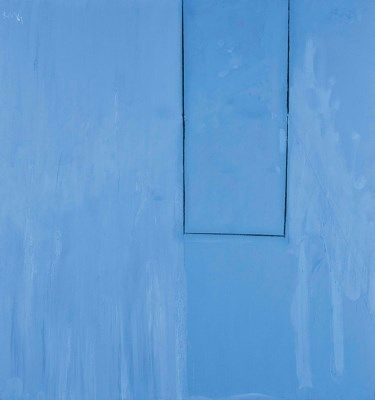 Artwork by Robert Motherwell, Open No. 103: Big Square Blue, Made of acrylic and charcoal on canvas