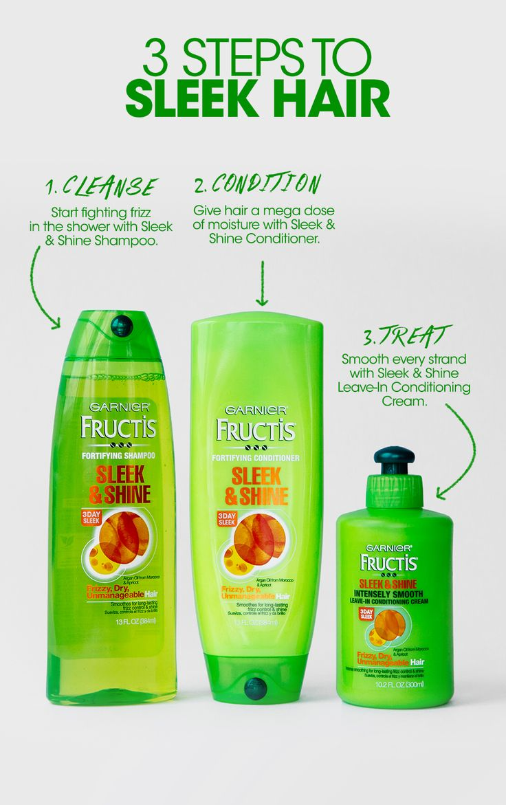 Get 3 days of sleek, shiny hair even in 97% humidity using the Garnier Fructis Sleek & Shine line: 1) Fight frizz by washing hair with Sleek & Shine Shampoo. 2) Moisturize strands with Sleek & Shine Conditioner. 3) Step out of the shower and apply Sleek & Shine Intensely Smooth Leave-In Conditioning Cream to damp strands, style and go!