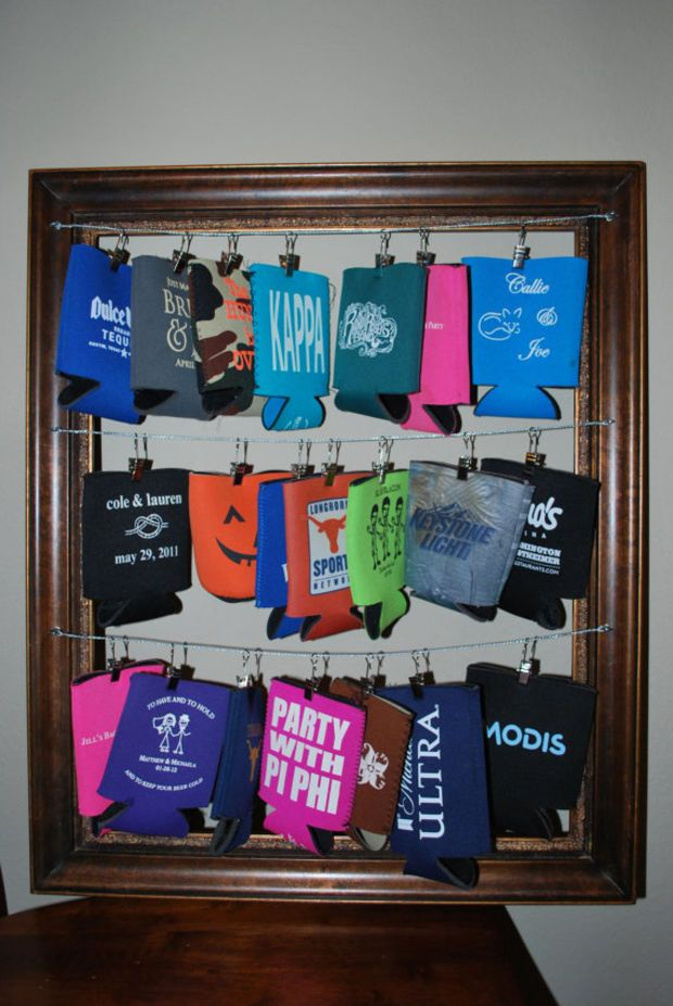 Koozie Frame: Each color frame can hold 21 koozies!  Hang your favorite koozies to get them out of the way. You will love it! – Sabrina Messier