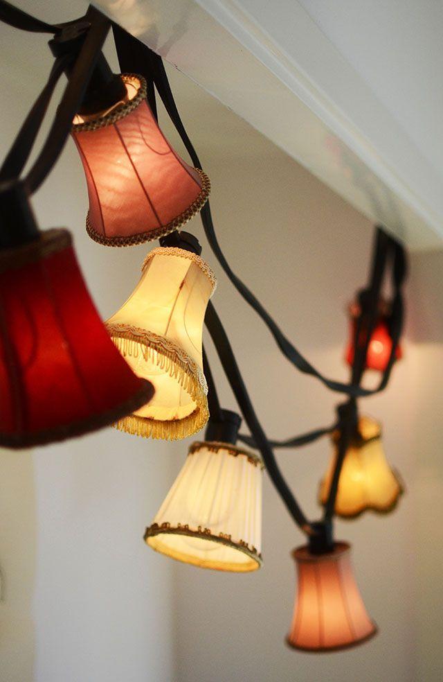 DIY Pyssel: Ljusslinga med små lampskärmar