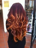 """MODERN Facebook fan Mary Tran posted this pic of her newly-updated """"flaming red ombre"""" color and it was love at first site for our thousands of Facebook fans. We tracked down Mary, and her colorist Laura Shields, at her Sit Still Salon in Venice Beach, California, for the how-to.: Ombre Hair Color, Red Hair, Haircolor, Long Hair, Ombrehair, Curls, Hairstyle, Hair Style, Redhair"""