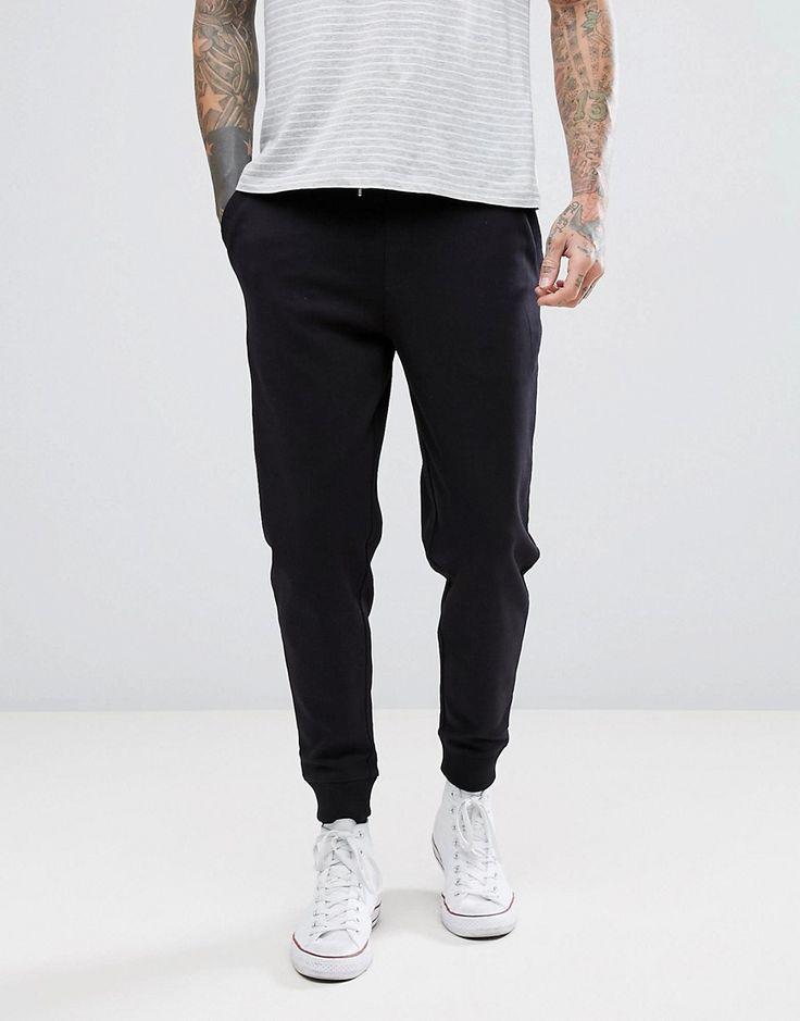 HUGO INTERLOCK SWEAT JOGGERS IN BLACK - BLACK. #hugo #cloth #