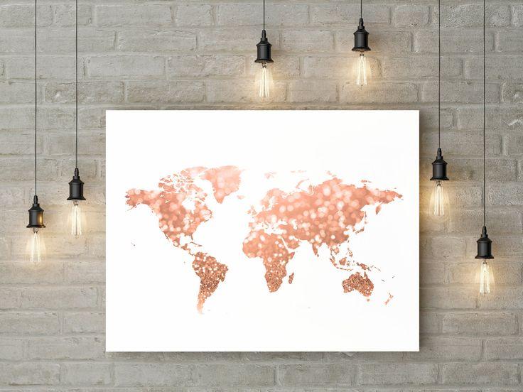 Welt Karte Kunstdruck - stieg gold Glitter, Rosa und gold Bokeh-Effekt. Reisen Sie Dekor für Ihr Zuhause, Wohnheim, Büro.  Dieses Angebot gilt für ein ~ DIGITAL DOWNLOAD ~ 300 dpi Auflösung JPEG-Dateien Größe 30 x 40, 16 x 20und 8 x 10.  Wenn Sie eines meiner Elemente in unterschiedlichen Farben oder genaue Größe möchten, bitte senden Sie mir eine Nachricht zuerst. Nicht jeder drucken kann geändert werden.  Wichtiger Hinweis! Dies ist eine druckbare Wandkunst, und es wird kein physisches…