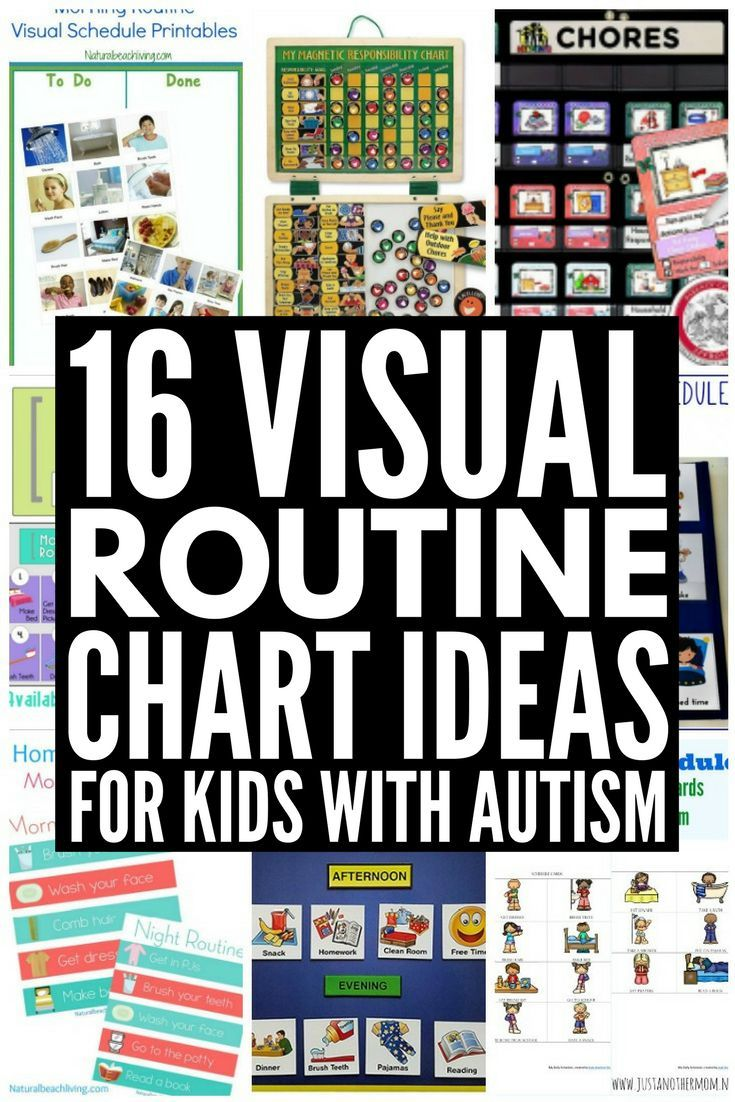 16 Visual Schedules for Kids with Autism! If you have a visual learner and you're looking for the perfect visual routine chart for kids with autism, we've found 16 ideas you'll love. From free printable morning routines for home to more complex daily schedules with pictures to use at school in the classroom, these portable visual schedules are perfect for preschool, kindergarten, elementary school, and beyond.