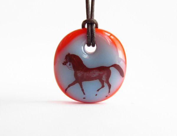 Arabian Horse Necklace - handmade in glass by  l e i l a c o o l s