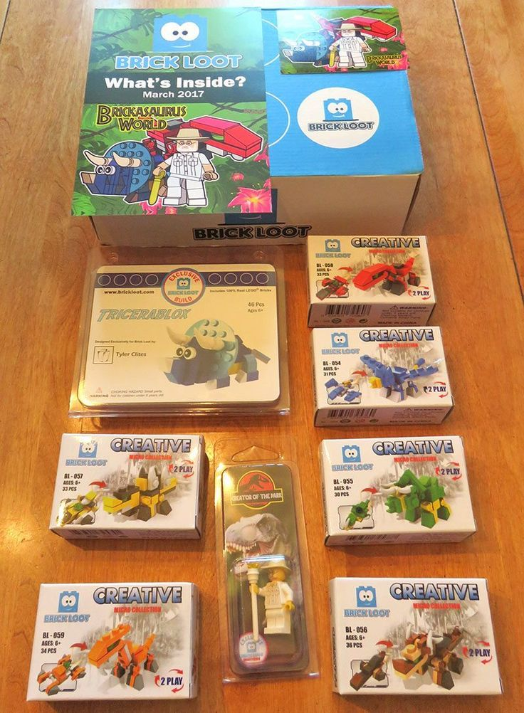 """Build your own dinosaur theme park with the March """"Brickasaurus World"""" Brick Loot! Denise unboxes the fun LEGO & Brick builds. Check out her review & save 10% off your subscription!  http://www.findsubscriptionboxes.com/a-closer-look/march-2017-brick-loot-review/?utm_campaign=coschedule&utm_source=pinterest&utm_medium=Find%20Subscription%20Boxes&utm_content=March%202017%20Brick%20Loot%20Review%20-%20Brickasaurus%20World%20%2B%20Coupon  #BrickLoot"""