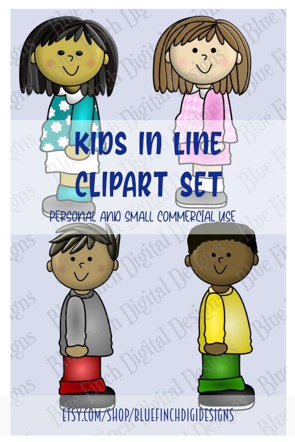 Kids In Line Classroom Clipart Set In 2021 Digital Design Clip Art Classroom Clipart
