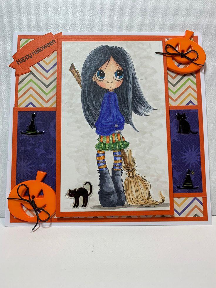 Happy Halloween card, Halloween Witch card, Handmade