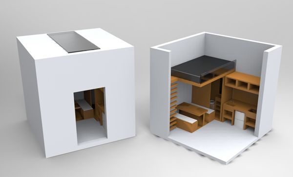 Justin chong 39 s cool idea for a compact living space within a small cube cool pinterest - How to live in small spaces concept ...