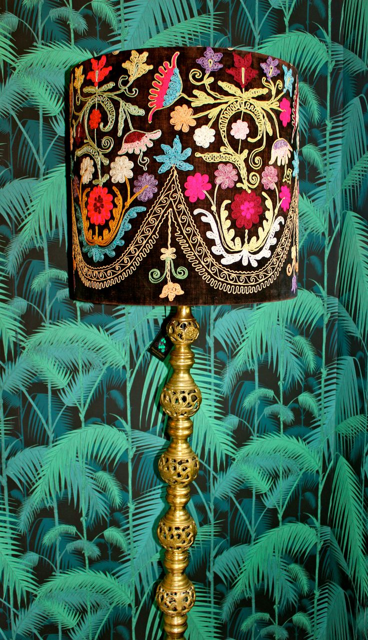 The Lillith Lamp...beautiful filigree Victorian Indian-styled brass standard lamp with a drum shade made from an antique embroidery from the Silk Road...lined in fuchsia wool..exotic boho love....NZ$1285