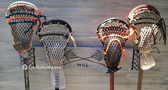 Lacrosse Stick 4 Hook Holder Original Design Sport Rack Hanger Custom Painted Lax Team Colors Unique Gift Wall Furnishing Athletic Decor