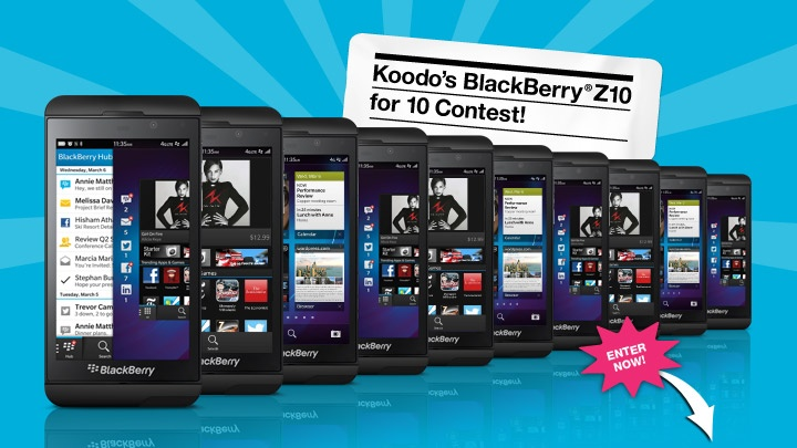 Enter now for a chance to be one of 10 lucky winners to take home a brand new BlackBerry® Z10.