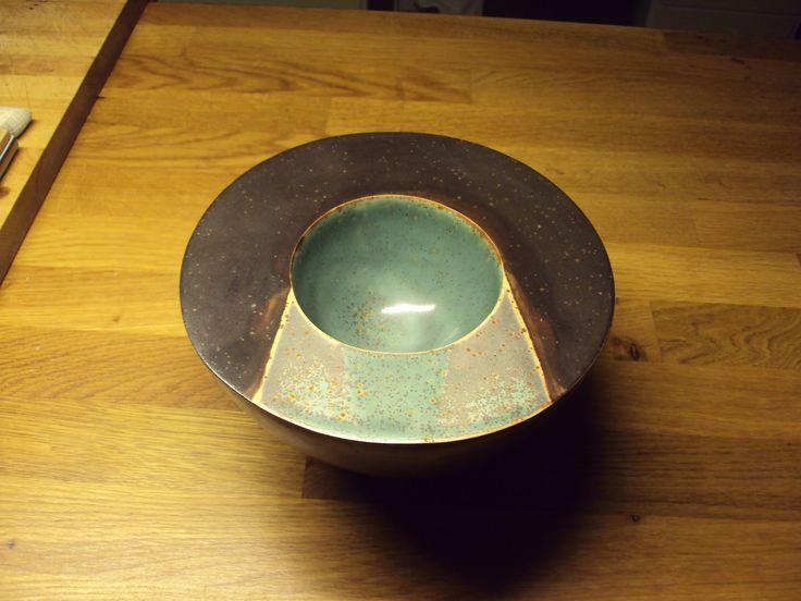 Double bowl in stoneware. By Gloria Morales de los Rios