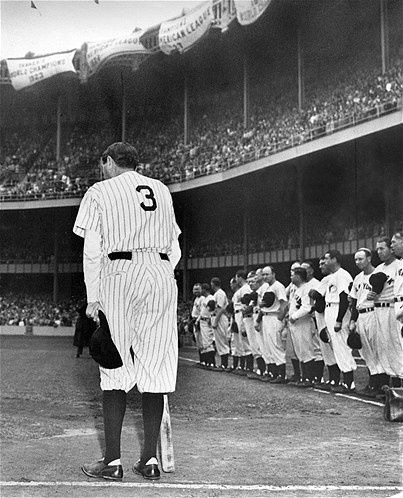 Thousands cheer at Yankee Stadium as baseball legend Babe Ruth stands alone at home plate as his number 3 is retired on June 13, 1948. Ruth would die of cancer just two months later.