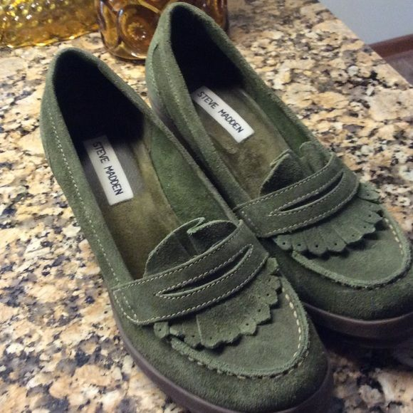 Steve Madden suede wedges. WEEKEND SALE Never worn.  Very nice green suede shoes with rubber wedge soles.  Never worn. Steve Madden Shoes Wedges