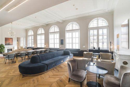 Arched electric roller blinds at the Eurostar Business Premier Lounge, Paris Gare du Nord by Grand Design Blinds