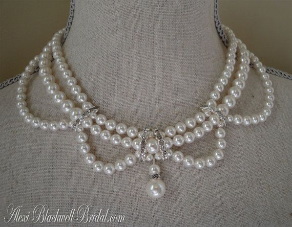 Victorian Pearl Wedding Necklace Earrings Set by AlexiBlackwellBridal, $89.00