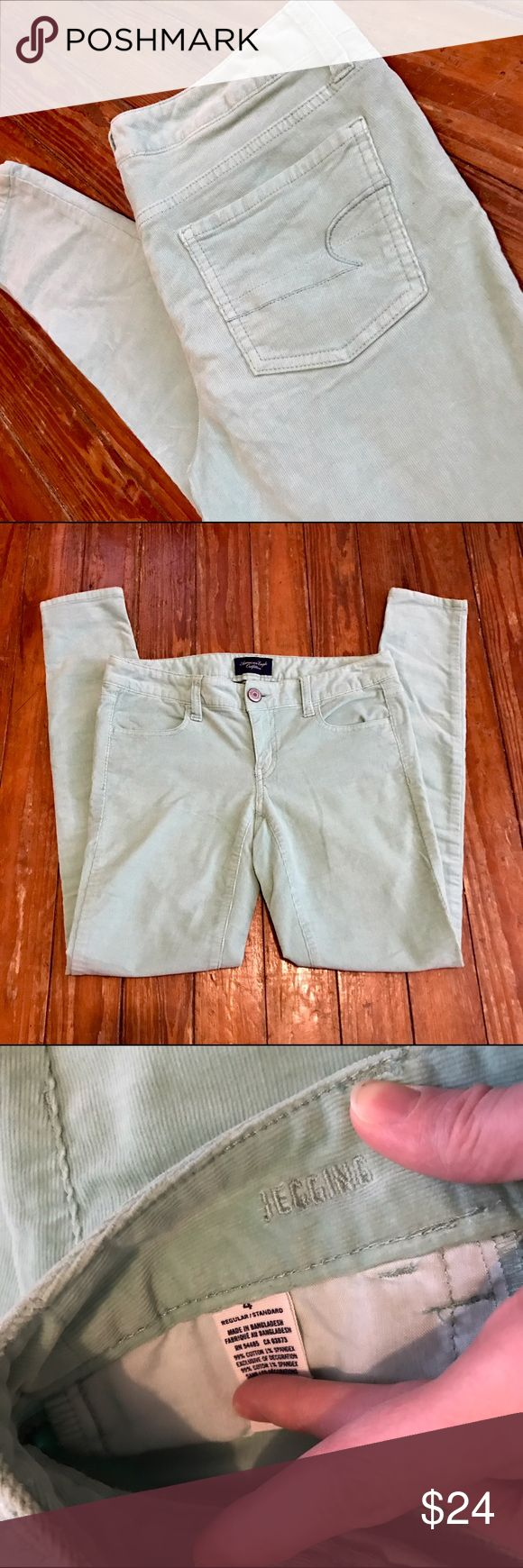 American Eagle Mint Green Corduroy Jeggings size 4 Thank you for looking at my listing!! This listing is for a pair of American Eagle Mint Green Corduroy Jeggings size 4. If you have any questions about this item feel free to contact me!! American Eagle Outfitters Jeans Skinny