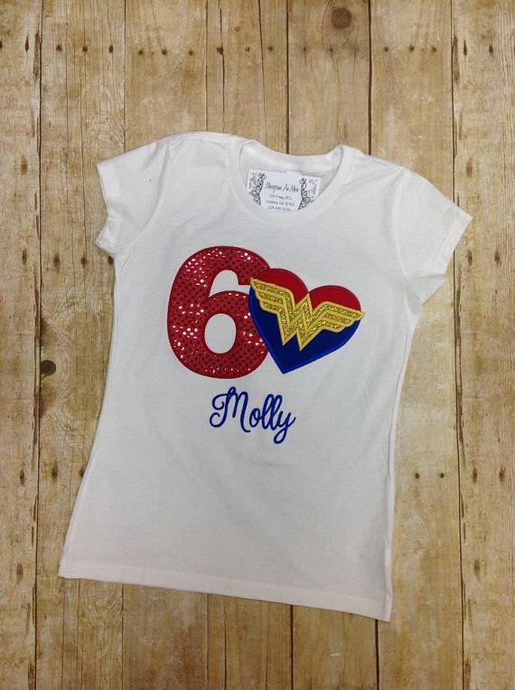 Girls Wonder Woman Applique Birthday Shirt