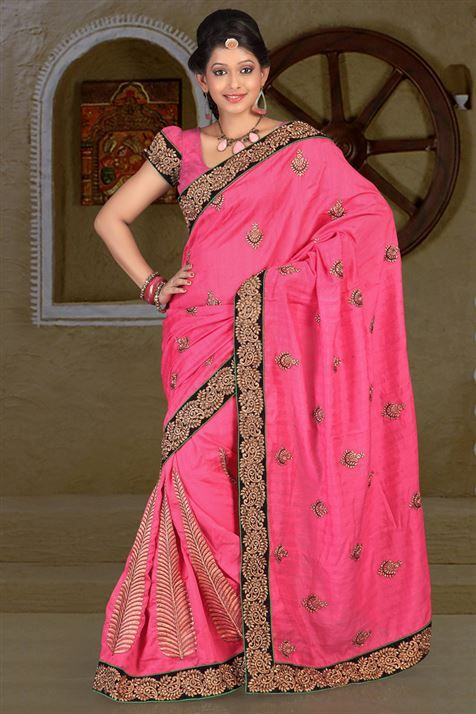 Bhagalpuri Pink party wear saree
