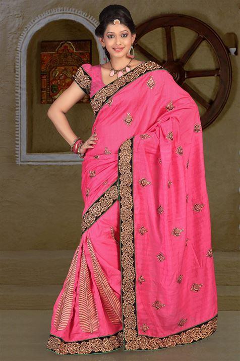 Bhagalpuri Pink party wear saree