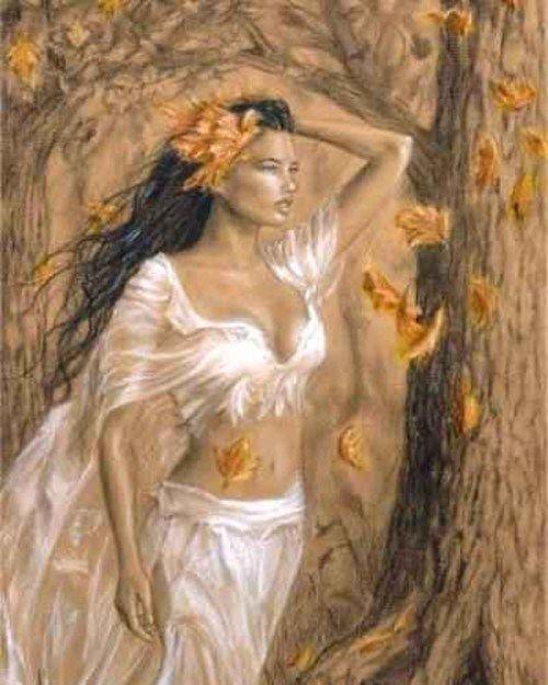 En la mitología griega las ninfas son deidades femeninas menores, según una tradición, son hijas del dios Zeus. Tienen la apariencia de una mujer muy hermosa aunque si alguien contempla a una ninfa desnuda puede morir en el acto. A pesar de ser unas criaturas muy tranquilas y de vida ordenada, en ocasiones, suelen verse seducidas por la música del caramillo de los sátiros y los acompañan en sus ruidosas y estridentes fiestas del vino.