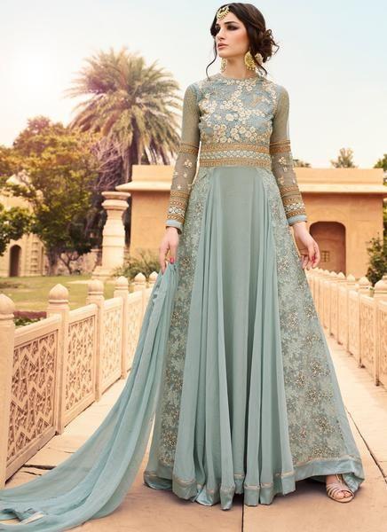 Light Blue Georgette Embroidered Anarkali Suit