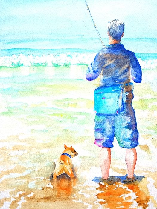 Fisherman and Dog at the Beach.  Original Watercolor painting by Carlin Blahnik. http://www.carlinart.com/ A fisherman stands in the shallow ocean water on the beach shore. By his side, a small French Bulldog waiting for action. The rod, with fishing line cast into the surf, is straight without pull of a fish. The water is colorful with a mix of sand brown, white wave foam and distant blue sea.