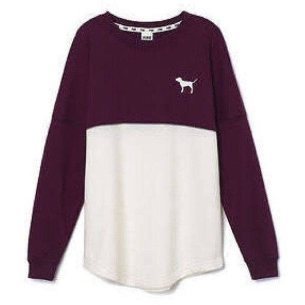 Victoria's Secret PINK Varsity Crew Burgundy White Long Sleeve (£40) ❤ liked on Polyvore featuring tops, shirts, sweater's, crew top, victoria secret tops, shirts & tops, burgundy top and burgundy long sleeve shirt