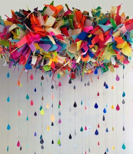 Nubes con gotas de lluvia con retazos de tela | Manualidades para Baby Shower