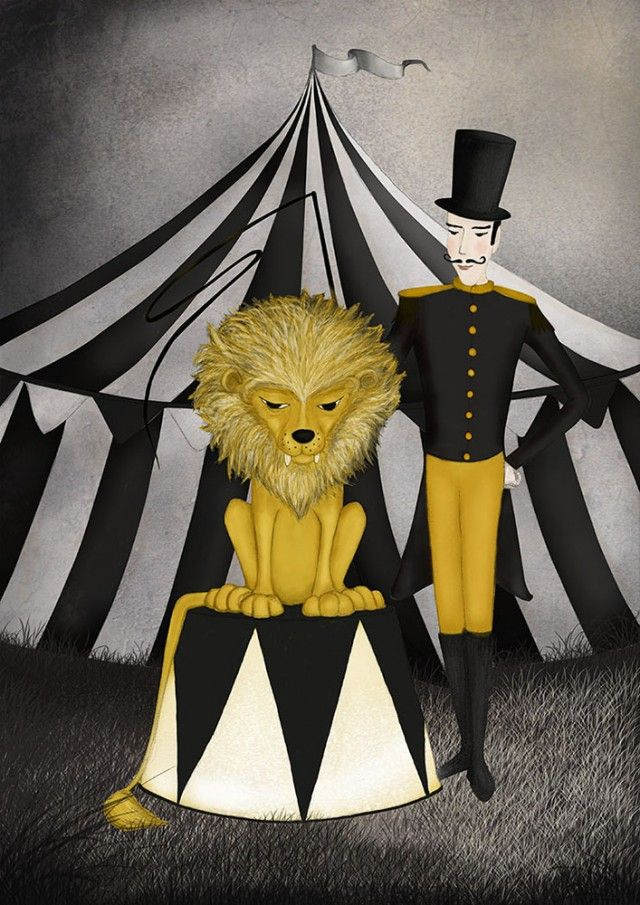 Circus lion! By Majali #nordicdesigncollective #circus #lion #circuslion #yellow #orange #costume #tent #circustent #trainer #whip #flag #stripe #stripes #striped #blackandwhite #black #white #button #buttons #sky #dark #poster #print #illustration #childrensroom #children #kids