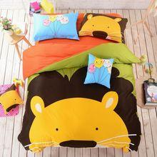 Aslan yatak seti sevimli karikatür orman hayvan temalı yatak seti çocuklar nevresim seti 100% pamuk keten 3 veya 4 adet(China (Mainland))