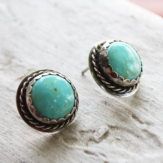 Sterling Silver Indian Turquoise Stud Earrings Navajo