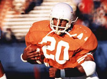 Earl Campbell University of Texas running back won the Heisman Trophy in 1977 and led the nation in rushing with 1,744 yards. He became the first recipient of the Davey O'Brien Memorial Trophy. He was also a consensus All-America choice in 1977. He was a First-team All-America selection in 1975. He was selected as the Southwest Conference running back of the year in each of his college seasons and finished with 4,444 career rushing yards.