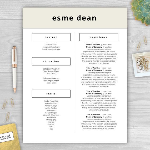 9 best Modern Resume Templates images on Pinterest Cover letter - adobe indesign resume template