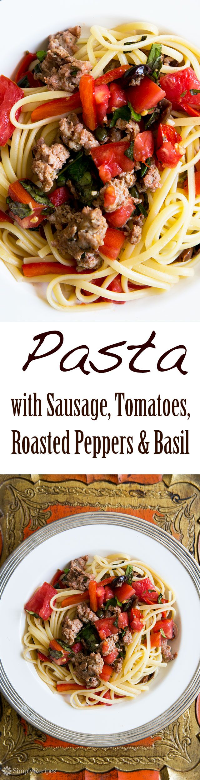 Easy weeknight dinner! Pasta tossed with a quick sauté of Italian sausage, fresh tomatoes, roasted bell peppers, olives, and capers. Start to finish in 30 minutes! On SimplyRecipes.com