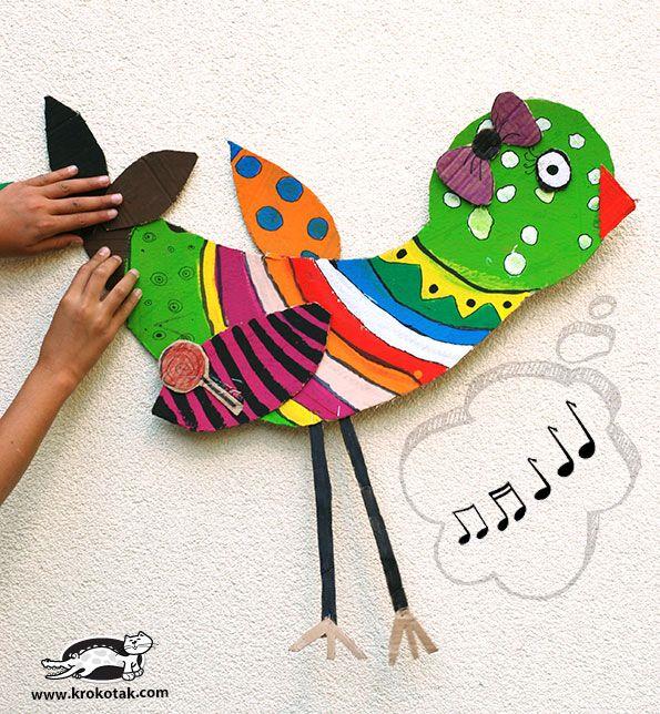 Big Cardboard Birds with tempera/acrylic